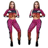Wholesale women ski pants for sale - Group buy Spring fall Women brand tracksuit two piece set long sleeve jacket pants plus size designer outfits Casual print sweatsuits sportswear