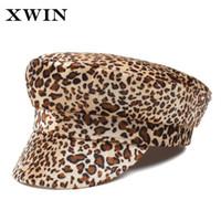 boina elegante al por mayor-XWIN Elegante Leopardo Boina Lana Caliente Primavera Otoño Invierno Boinas Mujeres Artista Francesa Beanie Hat para Mujeres Sombrero de Boina