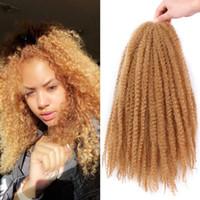 afro kinky curl saç uzantıları toptan satış-1 Adet Marley Örgüler Saç Afro Kinky Kıvırcık Marley Kıvırmak Büküm Örgü Saç Uzantıları Kanekalon Sentetik Büküm Tığ Saç 18 Inç Ombre Renk