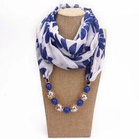 collares de bufanda para mujer al por mayor-9 estilos bufanda de moda Bohemia mujeres niñas gasa bufandas envoltura de la joyería colgante de impresión collares accesorios de la señora