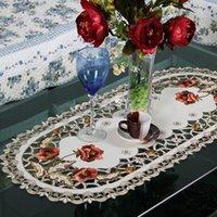 tischdecke stuhl großhandel-Vintage elegante europäische stilvolle pastorale gestickte Blumen Polyester Tischdecke für Stuhl Tisch Schreibtisch Startseite Hochzeitsdekoration