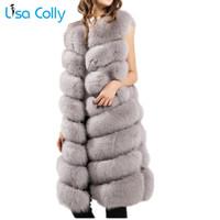 chalecos peludos al por mayor-Lisa Colly las nuevas mujeres de piel falsa chaleco de la capa peluda piel falsa chaleco de invierno caliente de la capa de la chaqueta de lujo de vestir exteriores larga