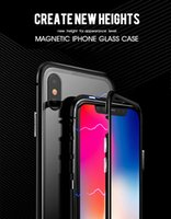 Wholesale aluminum metal bumper case cover for sale - Group buy Magnetic Magnet Case for iPhone X Plus XR XSMAX Clear Tempered Glass Back Cover Magnetic Aluminum Metal Bumper Shockproof