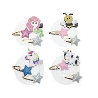 bebek mermaid karikatür toptan satış-Unicorn Mermaid kızlar saç klipler glisten bebek BB klipler çocuklar tokalarım Karikatür tasarımcı saç aksesuarları çocuklar için saç klip 3 adet / takım A6251