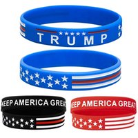 Trump Keep America Great 2020 Silicone Wristband Red Blue BlackTrump Support Band Rubber Bracelets Fashion Jewelry Gifts