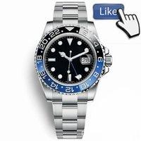 смотреть черный синий оптовых-2019 New Modell Модные часы Mens GMT Часы Автоматические юбилейные мужские часы Orologio di Lusso Orologi da Uomo Синий Черный наручные часы Новые