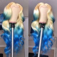 ingrosso due parrucche blu capelli tonici-Blue Biondo onda del corpo parrucca anteriore del merletto di Glueless parrucche piene del merletto dei capelli umani Ombre di due toni