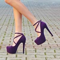 plataforma de zapatos de boda púrpura al por mayor-MST-031 Purple Suede Shoes mujeres bombea los zapatos del banquete de boda del vestido de la plataforma mujeres de tacón alto