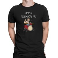 kit de bateria de música venda por atacado-Mens JUST GROOVE IT Drum Kit Varas Baterista Drumming Music Band T-Shirt