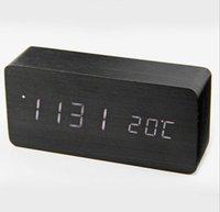 alarme de iluminação digital venda por atacado-Atualização de moda LED Despertador Despertador Controle de Sons de Temperatura LED night lights display eletrônico desktop relógios de mesa Digitais