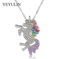 brillar joyas brillantes al por mayor-Brillante Color Plata Brillante Rhinestone Brillo Unicorn Collar Colgante Para Mujer Chica Niños Cadena de Eslabones Largos Collar Ajustable Joyería