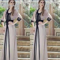 ingrosso abito maxi da partito musulmano-2019 Vintage A-line Dubai musulmano lunghi abiti da ballo Maxi Evening Party Dress Hot vendita robe matrimonio