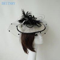 senhoras casamento venda por atacado-Venda Por Atacado elegante casamento chapéus e fascinadores mulher chapéus de casamento para noivas flores senhoras chapéus cocar com