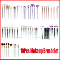 Wholesale black eye shadow powder resale online - 10pcs Unicorn Makeup Brush Set Pink Black Blue Foundation Blending Powder Eye Shadow Brushes Kit Crystal Spiral Handle Make Up Cosmetic Tool