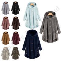 casacos de pele boton venda por atacado-Sherpa velo Overcoat Mulheres Outwear Botão Irregular longa jaqueta Coats senhoras Fur Hoodies geral Plush Inverno Tops casaco de pele S-5XL C92710