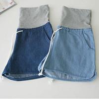 Wholesale korean maternity clothes resale online - Maternity Denim Korean Version Loose Casual Shorts Jeans Plus Size Clothes Pregnant Nursing belly Women Pants Maternity PantsMX190910