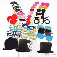 mascara de palo gracioso al por mayor-Conjunto festivo de 44 fotomatón Prop Bigote Gafas de ojo Labios en un palo Máscara Fotografía divertida del banquete de boda