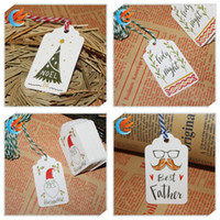 etiquetas de papel cadenas al por mayor-Merry Christmas DIY Gift Paper Tags Creative Raphing Collection Card Mini String Wish Cards Fit Gifts Wrap Decoration 3 1nw E1