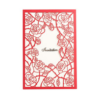 Wholesale cards birthday printable resale online - New Wedding Invitation Cards Exquisite Free Personalized Printable Laser Cut Flora Hollow Chinese Wedding Favors Hot Selling