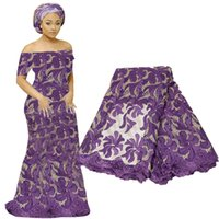 afrikanisches gewebe-spitzenmaterial großhandel-Neueste Französisch Spitze Stoff Guipure Afrikanische Spitze Voile Für Hochzeit Kleid Blumenstickerei Nigerianischen Spitze Material BF0006