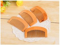 Wholesale wooden hairbrushes resale online - Wooden Comb Natural Health Peach Wood Anti static Health Care Beard Comb Pocket Combs Hairbrush Massager Hair Styling Tool