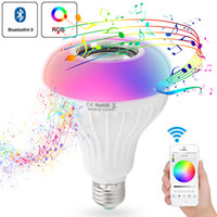 Wholesale colorful speakers lights resale online - E27 Bluetooth LED Music Bulb APP Control Audio Bar Gift Loudspeaker Wireless Colorful RGB W Speaker KTV Lamp Smart Light