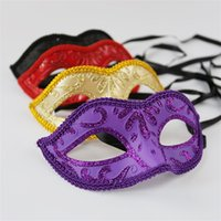 Wholesale mask packaging online - Golden Fairy Mask Party Masks Plastic Packaging OPP Pure Color Halloween Mardi Gras Party Supplies Hot Sale zlE1