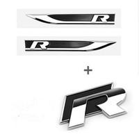 ingrosso modello parafango-Adesivi parafango R car badge lato car Fit per Golf 7 modello golf 6, accessori auto linea R nero