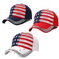 Wholesale black snapbacks stars for sale - Group buy Make America Trump Rivet Caps President Hats Diamond Bling Star Flag Baseball Ball Cap Beach Sun Hat Hip Hop Hats Snapbacks C71101
