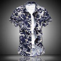 camisas brancas da seda dos homens venda por atacado-Mens designer t shirt t shirt roupas tamanho branco 6xl 7xl tamanho grande casual moda camisa flor trecho de seda de algodão camisa de mangas curtas