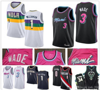 mejores camisetas al por mayor-Mejor calidad 100% cosida barato 3 Dwayne Wade Jersey Sion 1 Williamson jerseys Damian Lillard 0 21 14 Whiteside Tyler Herro jerseys NCAA 01