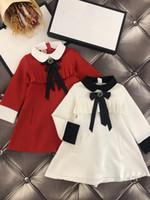 vestidos de festa únicos para meninas venda por atacado-Único Europa e Estados Unidos meninas plissadas vestido de manga crianças vestidos 2-10 anos meninas elegante vestido de festa para a menina branco vermelho X104