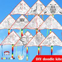 ruedas volantes de juguete al por mayor-Tela de poliéster Graffiti Diy cometas al por mayor Buen clima Práctica Kit creativo Deporte Juguetes al aire libre Niños