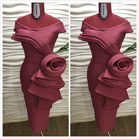 Wholesale burgundy mother bride dresses knee length resale online - Burgundy Sexy Stylish African Mother Of Bride Dresses Sheath Satin Mother Of Groom Dresses Knee Length Formal Party Evening Gowns