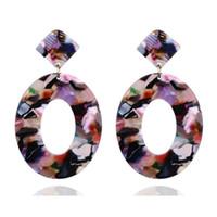 ingrosso orecchini esotici-Orecchini acrilico all'ingrosso Design Pattern Acetato Piatto esotico cerchio ciondola orecchini a cerchio Stud donne gioielli moda vendita calda