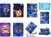casos de tablet animal venda por atacado-Universal carteira de couro dos desenhos animados case para 7 8 10 polegada tablet samsung galaxy tab ipad tablet pc coruja panda cão elefante animal tampa da pele