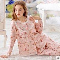 terno animal coreano venda por atacado-Algodão coreano de mangas compridas coreano bonito das mulheres de algodão doce de renda floral pijamas de algodão
