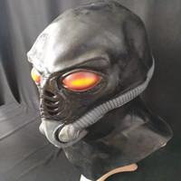 lateks yabancı maskeleri toptan satış-Yeni!!! Sıcak Satış Gerçekçi UFO Alien Maske Cadılar Bayramı Korkmuş Dekorasyon Ürpertici Lateks Kel Korku Hayalet Maske Kostüm Partisi Cosplay Sahne