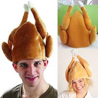 lustige halloween-geschenke großhandel-Türkei Hüte Thanksgiving Day DIY Türkei Lustige Erwachsene Hut Geröstete Türkei Hut Ausstattungs-Halloween-Danksagungs-Kostüm-Zusatz-Geschenk