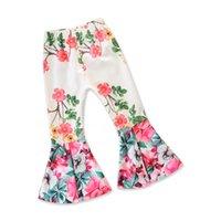 модные рожки оптовых-Девушки мода Люкс лето девушка белый сломанный цветок Рог брюки брюки Детская мода одежда новое летнее платье