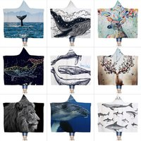 Wholesale blanket sales for sale - Group buy Air Conditioning Hoodied Blanket Thickening Double Deck Cloak Blankets Coral Velvet Printing Lazy Shawl Fit Winter Hot Sale bc E1