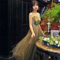vestidos de novia verde del ejército al por mayor-Serie de alta calidad # Vestido de fiesta Verde del ejército Correa de espagueti Malla Dama de honor Fiesta de boda larga Noche Elegante Vestidos de mujer 1056