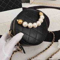 Wholesale handbag wristlet clutches resale online - Luxury Classic Designer Handbag Flowers Patent Leather Letters Wristlet Round Cakes Banquet Shoulder Bags Women Purse Clutch Crossbody Bag