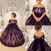 Wholesale white black flower girl for toddlers online - Dark Purple Flower Girl Dresses Short Sleeve Lace Sequins With Big Bow Girls Pageant Gowns Toddlers First Communion Gowns For Wedding BC1393