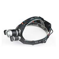 ingrosso torcia elettrica dc-Spedizione gratuita Crestech LED Headlamp 6000Lm 3T6 Testa Torcia Torcia Ricaricabile Head Light Fronte Testa Testa Pesca Faro