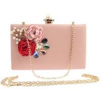 pochette fleur rose achat en gros de-JaneVini Mode Perle Femmes De Mariée D'embrayage Sacs À Main Fleurs Diamants Dames Soirée De Bal Sacs Sacs À Main Blanc Rose D'épaule Sac À Main De Mariage Purse