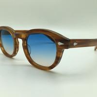 collège lunettes de soleil achat en gros de-Gros-SPEIKE Personnalisé Mode lunettes de soleil de style Lemtosh Johnny Depp de haute qualité Vintage lunettes de soleil rondes Lunettes de soleil bleu-marron