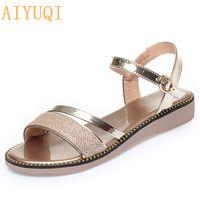 Wholesale sandals golden resale online - AIYUQI Women s Sandals Flat New Golden Female Summer Sandals Fashion Sweet Silver Big Size Women