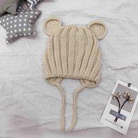Wholesale crochet kids cat hat for sale - Group buy Candy Colors Kids Winter Warm Hat Ball Beanie Knit Crochet boys girls Knitted Cat Ear Warm Hat