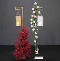 Wholesale chinese lantern wedding centerpieces for sale - Group buy large Metal Candlestick stand flower arch backdrops stand Chinese lantern road lead iron art rack wedding decorations wedding stage props